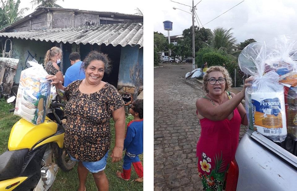 Entrega das cestas para os beneficiários (Maria José à esquerda e Cecília Ferreira à direita).