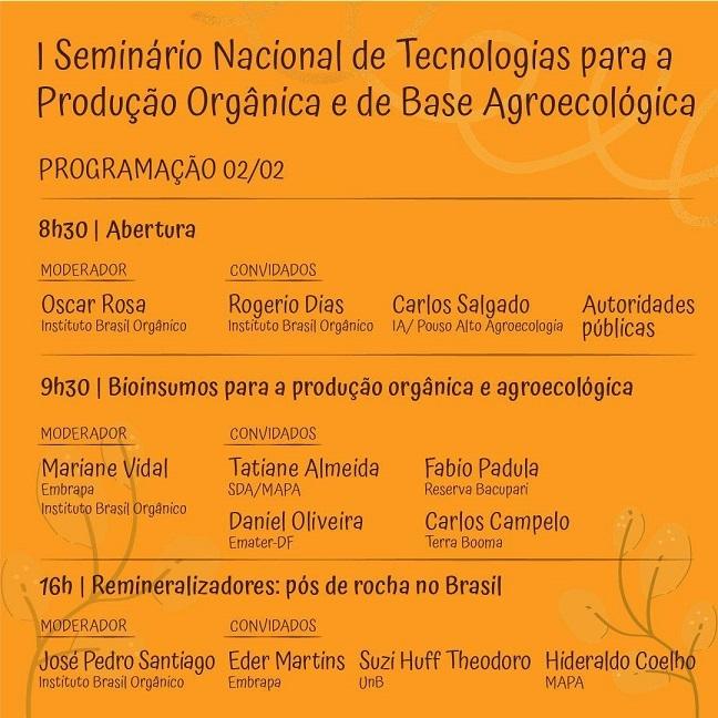 Seminário Nacional de Tecnologias para a Produção Orgânica e de Base Agroecológica